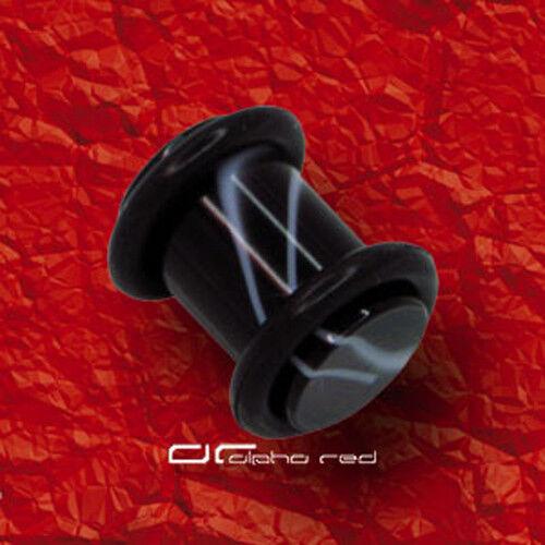 »»» 2x MARMOR ACRYL PLUG OHR PIERCING 1,6-10mm schwarz weiß 2244