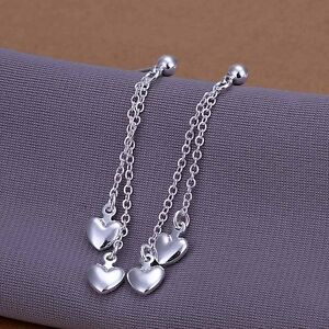 UK-Shop-925-SILVER-PLT-HANGING-MULTI-CHAIN-LOVE-HEART-DROP-DANGLE-EARRINGS-BIG