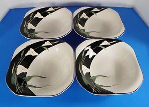 Sango-Quadrille-BLACK-LILIES-Coupe-Soup-Bowl-s-LOT-OF-4-Crazing