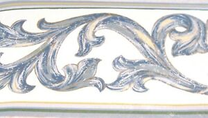 Architectural-Blue-Leaf-Scroll-on-White-WALLPAPER-BORDER4088-Traditional-NIP