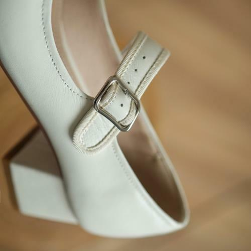 Details about  /Women Youth Square Toe Leather Block Heel Ankle Strap Casual Mary Janes Shoes L