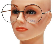 EXTRA LARGE ROUND 60's RETRO CLEAR LENS GLASSES OVERSIZED SILVER METAL FRAME