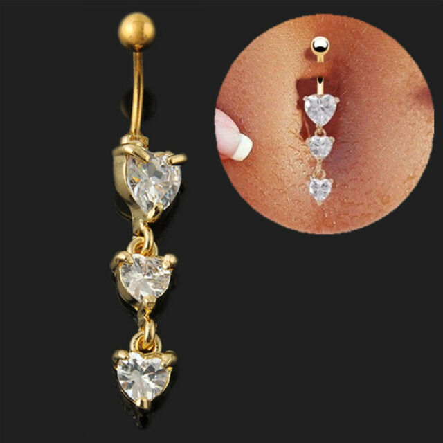 Body Piercing Jewelry 3 Heart Crystal Clear Gold Dangle Belly Button Navel Rings
