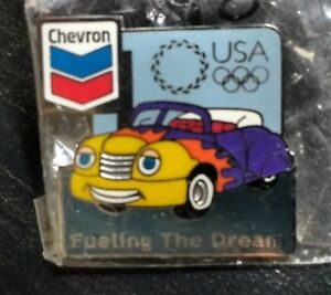 Chevron-Gasoline-Atlanta-Olympic-Pin-VERY-RARE-NEW-SEALED-Fueling-the-Dream