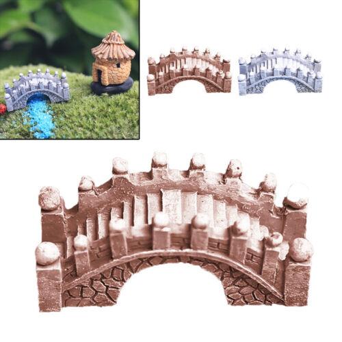 Garden Ornament Mini Arched Bridge Brown//Gray Resin Fairy Dollhouse Decor DIY