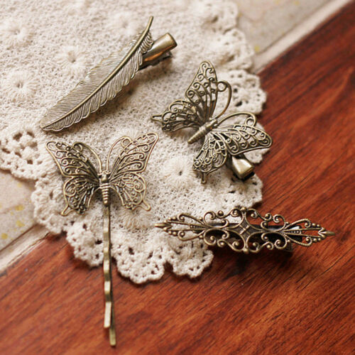 Women Vintage Feather Hairpin Metal Butterfly Hair Clip Hollowed Hair Barrette