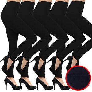 legging dikke van zwarte sk One Size Pak beenvrije gevoerde 6 dikke fleece naadloze znqAOYwd