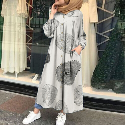Women Full Length O-Neck Loose Long Midi Dress Ethnic Retro Printed Shirt Dress