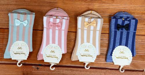 Ladies Retro Ankle Socks Vertical Stripe With Satin Bow Harajuku Rockabilly Kei