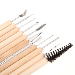 11PC-Set-Clay-Sculpting-Wax-Carving-Pottery-Tools-Shapers-Polymer-Modeling