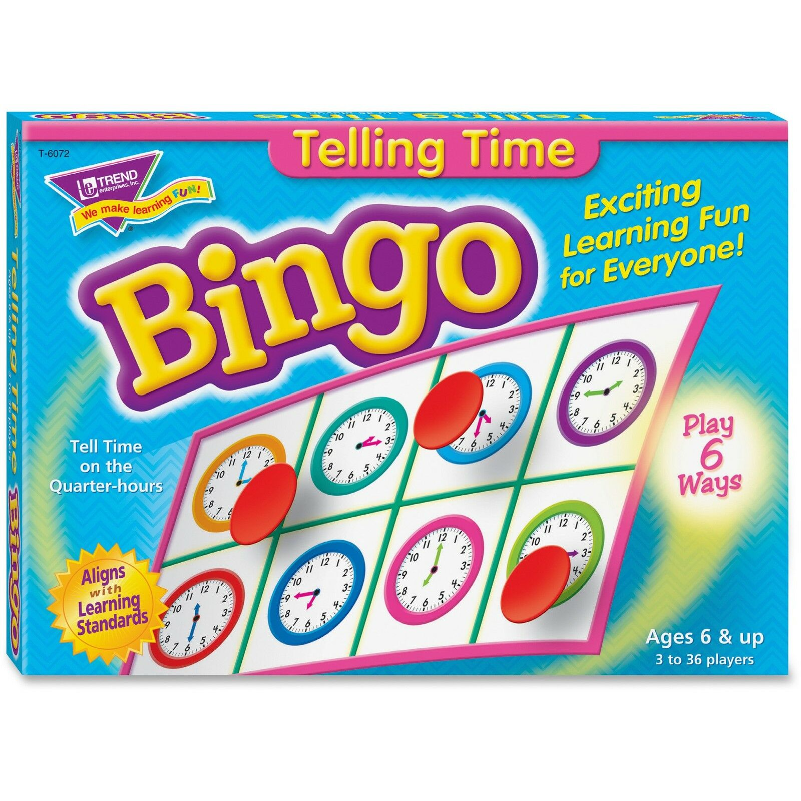 Trend Bingo Telling Time Game 3-36 Players 36 Cards Mats 6072