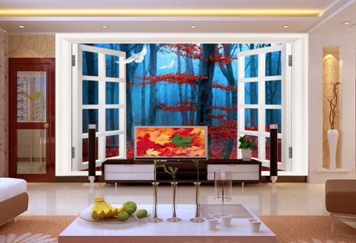 3D Maple Tree Window 7 Wall Paper Murals Wall Print Wall Wallpaper Mural AU Kyra