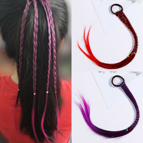 Girls Colorful Wigs Ponytail Hair Ornament Headbands Rubber Bands Beauty Hair uk