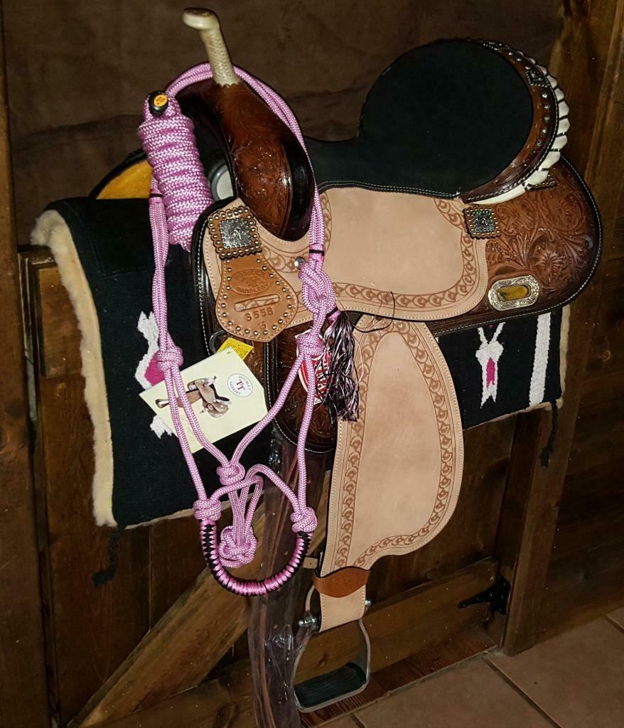 14  15  16  Double T Barrel Style Saddle Set Conchos  + Pad + Lead + Halter 6556