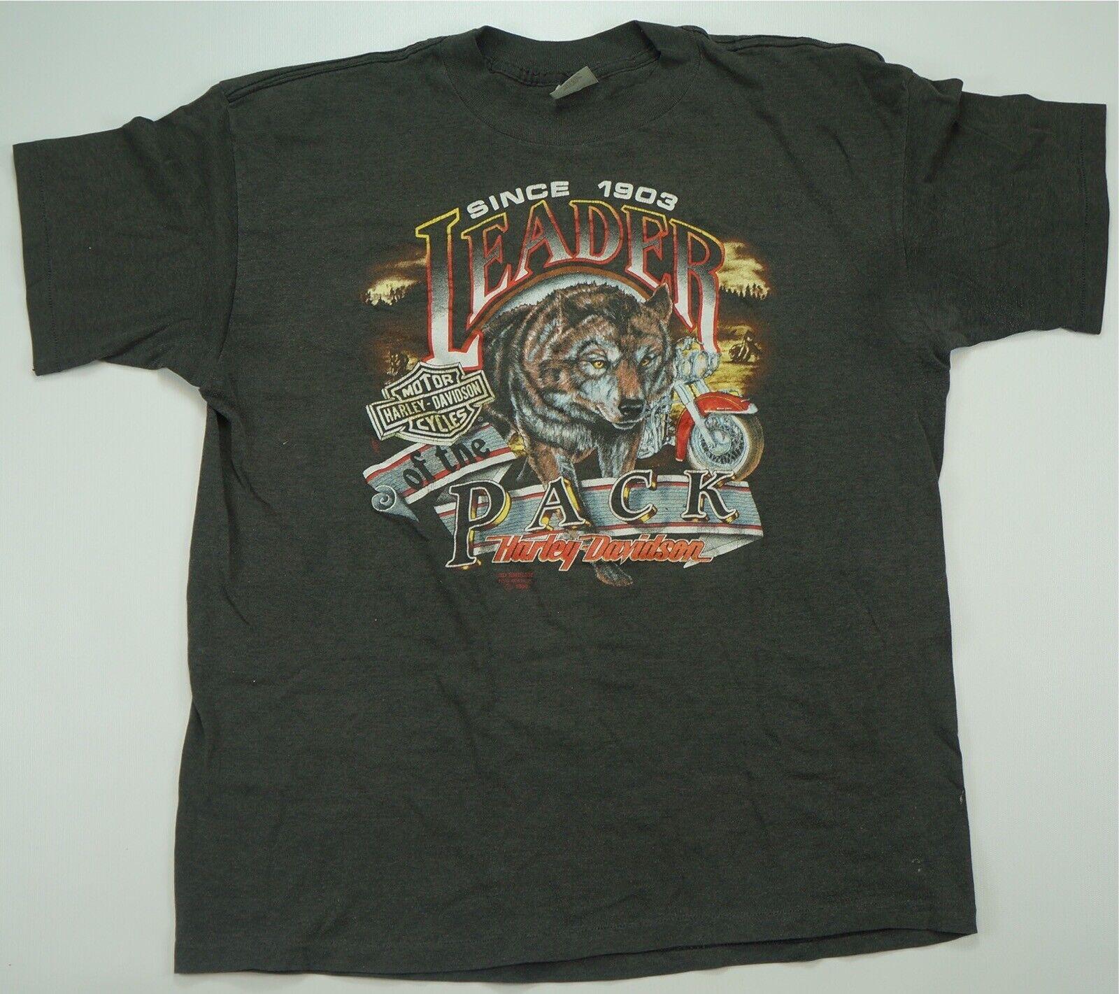 Rare VTG HARLEY DAVIDSON Leader of the Pack Wolf 1990 T hemd 90s 3D Emblem 2XL