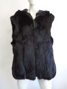 Brand Woman Rabbit Fur Black W Women Hood Sz Vest New All PqrP48xZ