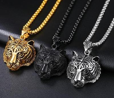Biker Stainless Steel Cool design Tiger Heads Necklace Pendant +24'' Box Chain
