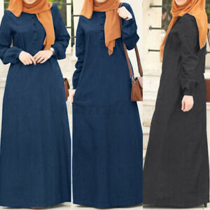 ZANZEA-Women-Long-Sleeve-O-Neck-Casual-Loose-Kaftan-Baggy-Denim-Maxi-Shirt-Dress