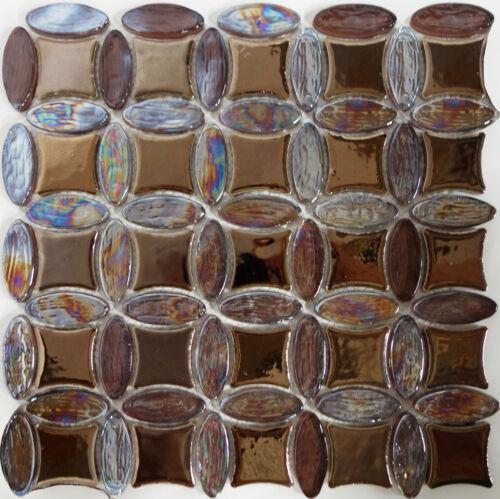 Dark Brown Glass Porcelain Circle Pattern Mosaic Tile