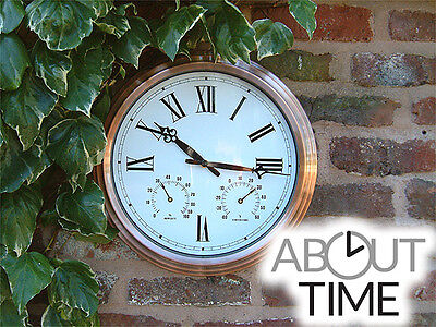 Copper Garden Wall Clock Outdoor Outside Themometer Humidity 37cm Round Bronze