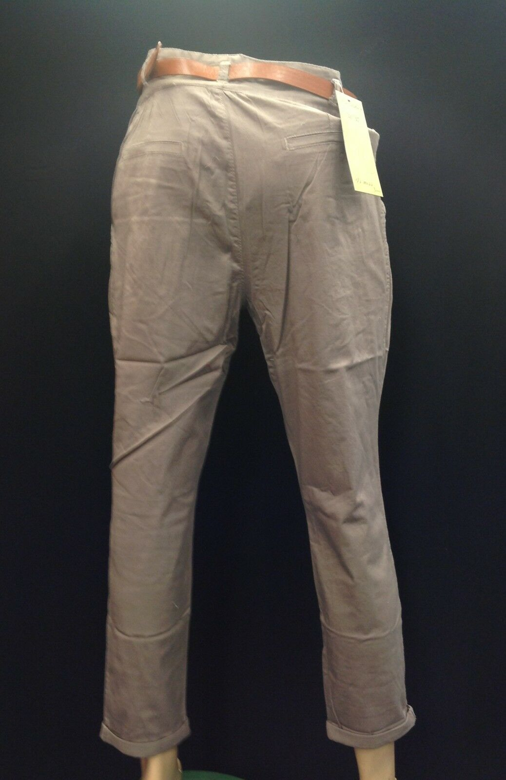 WG002 Womens Ladies New Chino Style Paper Bag Fit Trousers with Belt Sizes 6-16