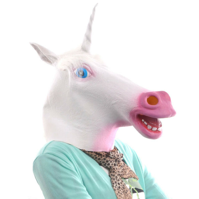 Horse Unicorn Animal Head Mask Creepy Halloween Costume Theater Prop Novelty