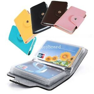 Details About New 24 Cards Pu Leather Credit Id Business Card Holder Pocket Wallet Case
