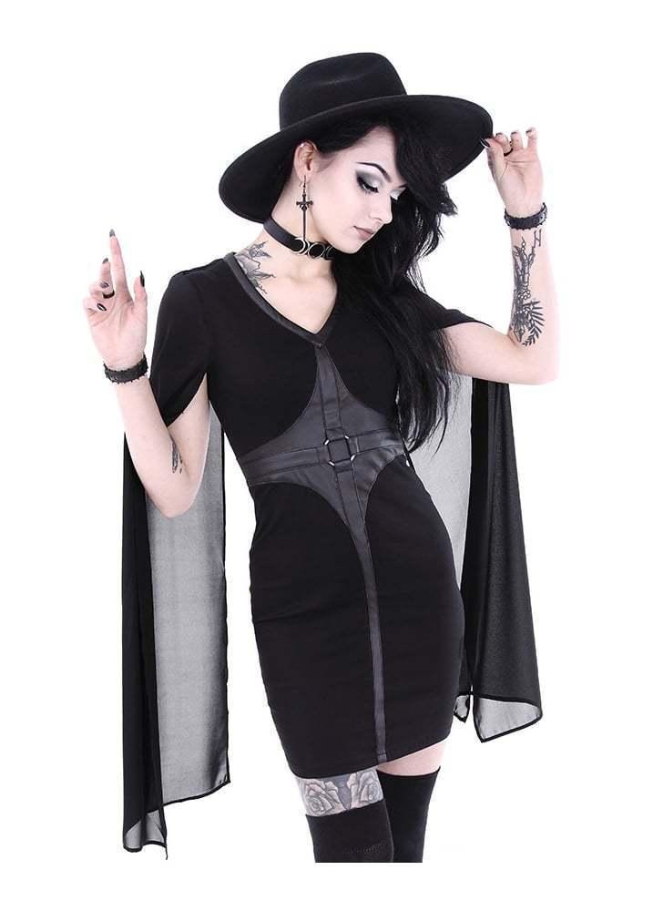schwarz Gothic Bodycon Cape Mini Dress by Restyle - Ladies Größe XXXL (20) - New