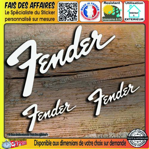 lot 3 stickers autocollant Fender GUITARE musique rock decal