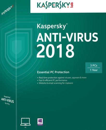 Kaspersky Antiivirus 2018 per 1 PC 1 Anno completa Licenza  ESD
