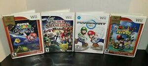 Lot-of-4-Nintendo-Wii-Mario-Galaxy-Smash-Bros-Brawl-Mario-Kart-amp-Mario-Tennis