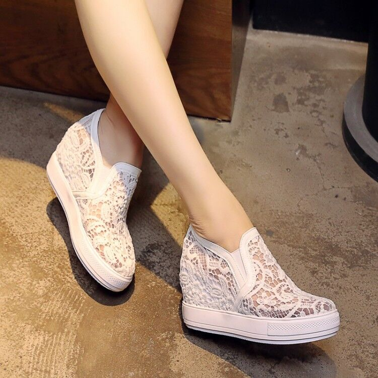 Fashion Womens Girl Platform Sneakers Pumps Lace Hidden Wedge Heel Slip On shoes