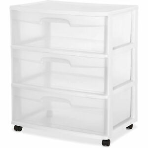 Sterilite  Drawer Wide Cart Storage Plastic White Organizer Cabinet Rolling