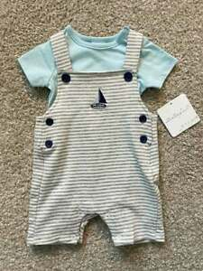 Newborn Infant Baby Boy Starting Out Nautical Outfit Romper Sailboat Sz 0