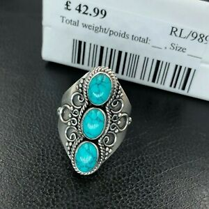 New-Stunning-TURQUOISE-MOONSTONE-Gothic-925-Sterling-Silver-Big-Ring-Gift-Boxed