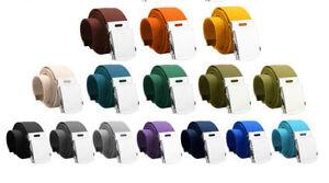 Cotton-Belt-Silver-Buckle-Unisex-Fabric-Canvas-Webbing-Mens-Ladies-Catch