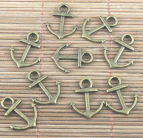 24pcs antiqued bronze color 2sided anchor design charms EF0484-1