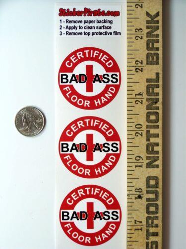 """3 Red Certified Bad Ass Floor Hand 2"""" Hard Hat Helmet Stickers H688"""