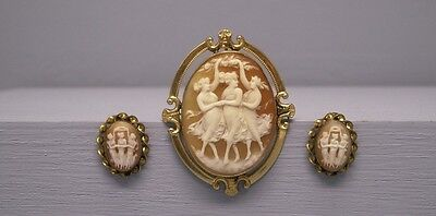 Antique 10k Gold 3 Graces Cameo Pin Pendant & matching 14K Gold Earrings