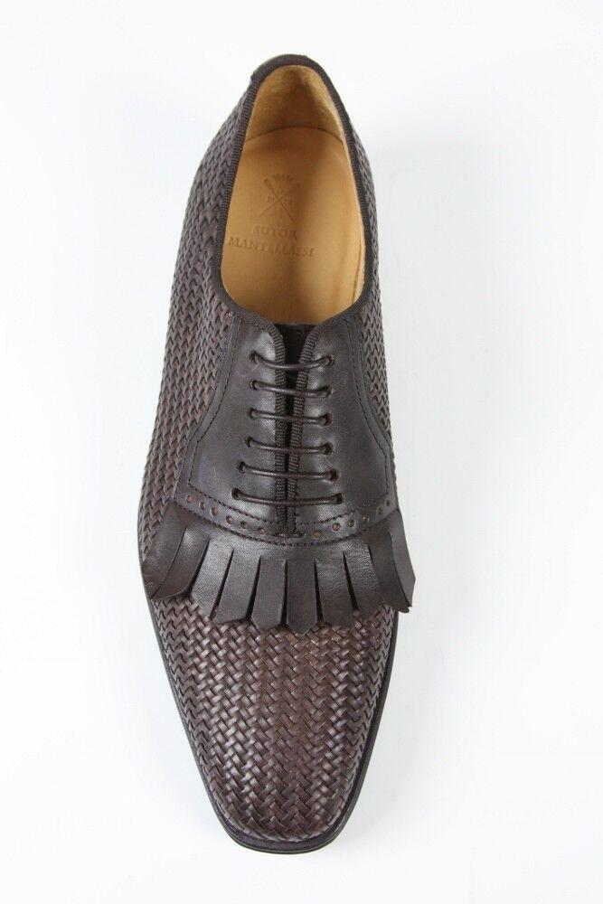 FINAL SALE Sutor Mantellassi Shoes SALE! Dark brown basket weave kilted oxford Scarpe classiche da uomo