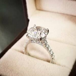 Details about 14k White Gold Over Solitaire Round 2.Ct Diamond Womens  Wedding Engagement Ring d1afb948aa