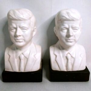Vintage-President-JOHN-F-KENNEDY-Bust-Bookends-Pair-Set-of-2
