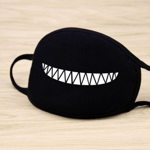 Women Men Cotton Face Masks Pattern Solid Black Mask Half Face Mouth Muffle