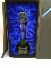 OPTICAL GENUINE CRYSTAL GOLF AWARD TROPHY ON A BEAUTIFUL GREEN CRYSTAL BASE