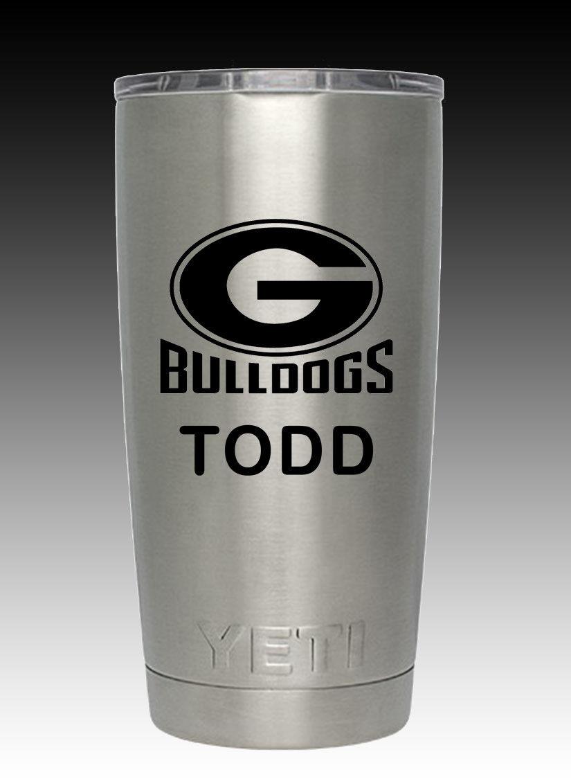 YETI  stainless  20 oz cup tumbler engraved Georgia Bulldogs free shipping