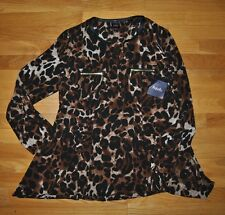 NWT Womens Rafaella Brown Black Leopard Print Blouse Shirt Top Size M Medium $65