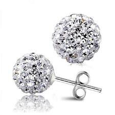 925 Silver Plated 8mm Shamballa Stud Crystal Disco Ball Stud Earrings Hot Sale