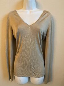 GUCCI-Sweater-V-neck-tan-Top-M-Women-039-s-Lightweight-Ribbed-EUC-Fitted
