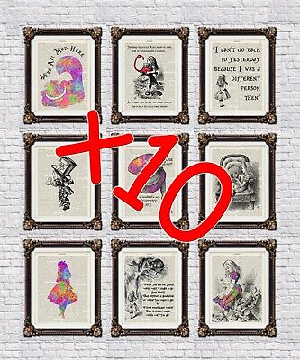 10 x Alice in Wonderland dictionary prints - choose 10 ! 60 + to choose from!