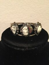 Native OLD COIN Silver (.720) & Genuine  WHITE BUFFALO  Turquoise Bracelet